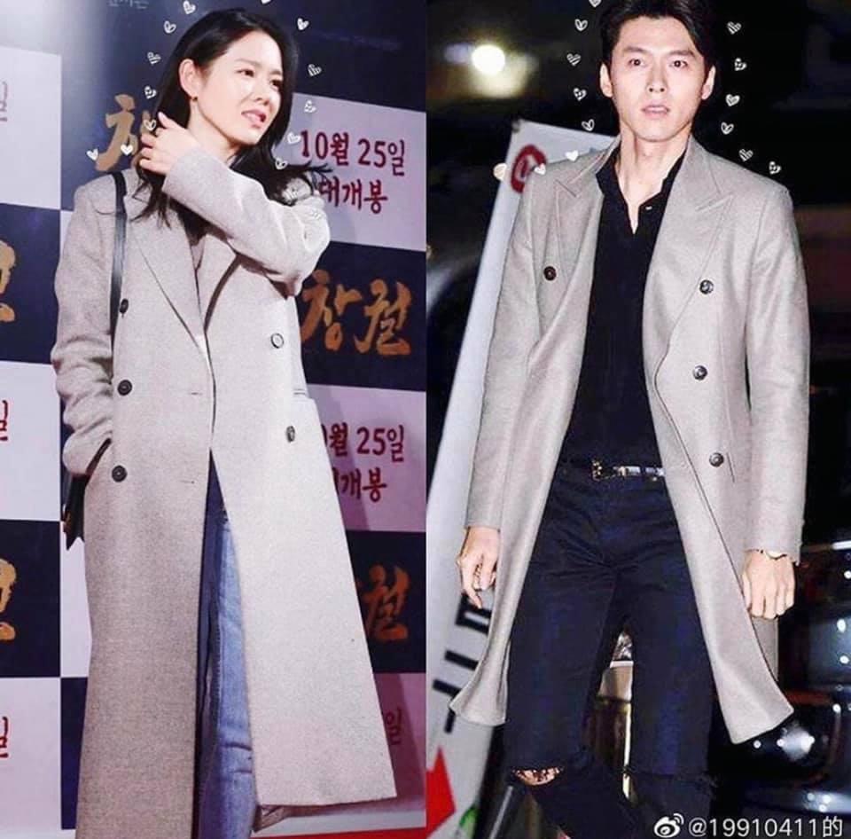 hyun bin và son ye jin chọn áo khoác màu ghi