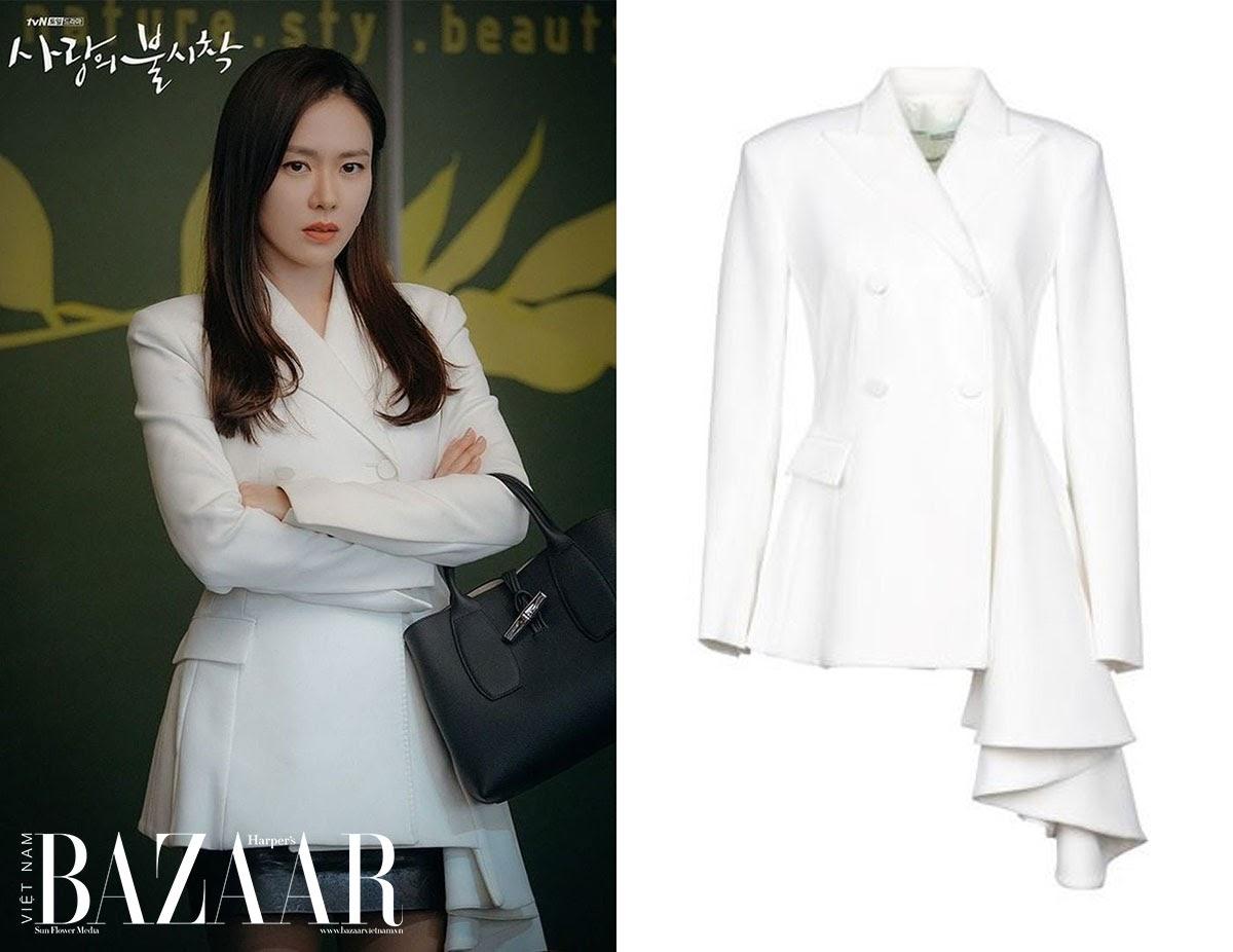hạ cánh nơi anh - son ye jin mặc áo blazer trắng sang trọng