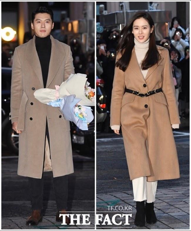 hyun bin và son ye jin mặc áo khoác dáng dài